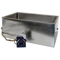 APW Wyott BM-80D Bottom Mount 12 inch x 20 inch Insulated High Performance Hot Food Well with Drain and Square Corners