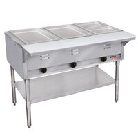 APW Wyott GST-4 Champion Open Well Four Pan Gas Steam Table - Galvanized Undershelf and Legs