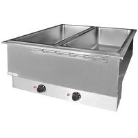 APW Wyott HFWAT-2D Insulated Two Pan Drop In Hot Food Well with Drain and Attached Controls and Plug