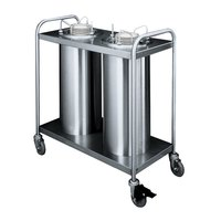 APW Wyott HTL2-6.5 Trendline Mobile Heated Two Tube Dish Dispenser for 5 7/8 inch to 6 1/2 inch Dishes