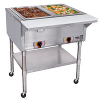 APW Wyott PST-2S Two Pan Exposed Portable Steam Table with Stainless Steel Legs and Undershelf - 1000W - Open Well