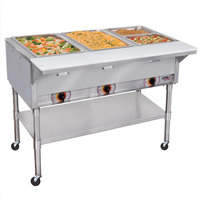 APW Wyott PST-3 Three Pan Exposed Portable Steam Table with Coated Legs and Undershelf - 1500W - Open Well