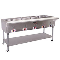 APW Wyott PST-5 Five Pan Exposed Portable Steam Table with Coated Legs and Undershelf - 2500W - Open Well