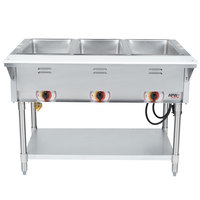 APW Wyott SST3 Stationary Steam Table - Three Pan - Sealed Well