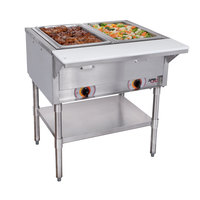 APW Wyott ST-2 Two Pan Exposed Stationary Steam Table with Coated Legs and Undershelf - 1000W - Open Well