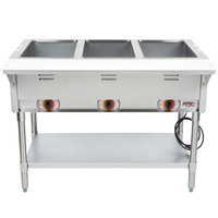 APW Wyott ST-3 Three Pan Exposed Stationary Steam Table with Coated Legs and Undershelf - 1500W - Open Well