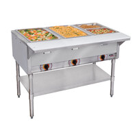APW Wyott ST-4 Four Pan Exposed Stationary Steam Table with Coated Legs and Undershelf - 2000W - Open Well