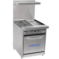 Bakers Pride Restaurant Series 24-BP-2B-G12-S20 2 Burner Gas Range with Space Saver 20 inch Oven and 12 inch Griddle