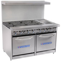 Bakers Pride Restaurant Series 48-BP-6B-G12-S20 6 Burner Gas Range with Two Space Saver 20 inch Ovens and 12 inch Griddle