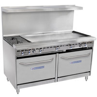 Bakers Pride Restaurant Series 60-BP-2B-G48-S26 2 Burner Gas Range with Two Standard 26 inch Ovens and 48 inch Griddle