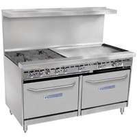 Bakers Pride Restaurant Series 60-BP-4B-G36-S26 4 Burner Gas Range with Two Standard 26 inch Ovens and 36 inch Griddle