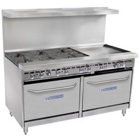 Bakers Pride Restaurant Series 60-BP-6B-G24-S26 6 Burner Gas Range with Two Standard 26 inch Ovens and 24 inch Griddle