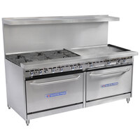 Bakers Pride Restaurant Series 72-BP-6B-G36-S30 6 Burner Gas Range with Two Standard 30 inch Ovens and 36 inch Griddle