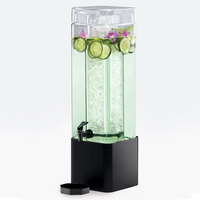 Cal Mil 1112-3-13 3 Gallon Mission Square Glass Beverage Dispenser with Black Metal Base - 7 inch x 7 inch x 26 1/2 inch