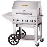 Crown Verity MCB-30-PKG Outdoor BBQ Grill / Charbroiler with Roll Dome, Outdoor Cover, Shelf, and Bun Rack - Portable