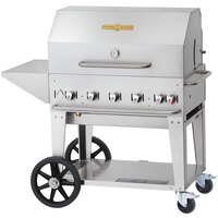 Crown Verity MCB-36 PKG Outdoor BBQ Grill / Charbroiler with Roll Dome, Outdoor Cover, Shelf, and Bun Rack - Portable