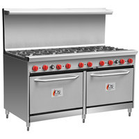 Cooking Performance Group 60-CPGV-10B-S26 10 Burner 60 inch Gas Range with Two 26 1/2 inch Standard Ovens