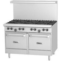 Garland G48-6G12LL 6 Burner 48 inch Gas Range with 12 inch Griddle and 2 Space Saver Ovens - 280,000 BTU