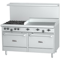 Garland G60-2G48RR 2 Burner 60 inch Gas Range with 48 inch Griddle and 2 Standard Ovens - 214,000 BTU