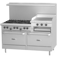 Garland G60-6R24RR 6 Burner 60 inch Gas Range with 24 inch Raised Griddle / Broiler and 2 Standard Ovens - 307,000 BTU