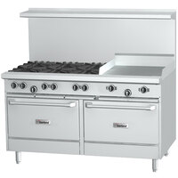 Garland G60-8G12SS 8 Burner 60 inch Gas Range with 12 inch Griddle and 2 Storage Bases - 282,000 BTU