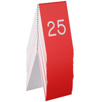 Cal-Mil 271A-1 Red Engraved Number Tent Sign Set 1-25 - 3 1/2 inch x 5 inch