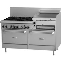 Garland GF60-6R24RR 6 Burner 60 inch Gas Range with Flame Failure Protection, 24 inch Raised Griddle / Broiler, and 2 Standard Ovens - 265,000 BTU