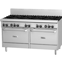Garland GF60-8G12RR 8 Burner 60 inch Gas Range with Flame Failure Protection, 12 inch Griddle, and 2 Standard Ovens - 302,000 BTU
