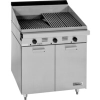 Garland M34B Master Series Range Match 34 inch Briquette Charbroiler with Storage Base - 90,000 BTU