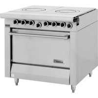Garland M45S Master Series 2 Section Front Fired Hot Top 34 inch Gas Range with Storage Base - 90,000 BTU