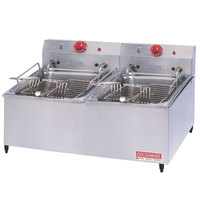 Cecilware ELT-500 Double Stainless Steel Commercial Countertop Electric Deep Fryer with 30 lb. Fry Tank - 8400/11000W