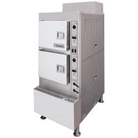 Cleveland 24CGA6.2S Gemini 6 Pan Short Series High Speed Gas Convection Floor Steamer - 100,000 BTU