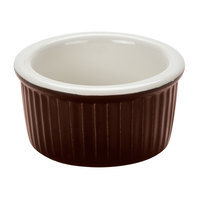 Greenware by Tuxton B1X-0352 3.5 oz. Caramel / Ivory (American White) Fluted China Ramekin - 48/Case