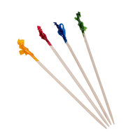 Royal Paper R812W 4 inch Frilled Club Food Pick with Assorted Colors