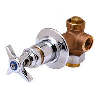 T&S B-1020 Concealed Bypass Valve with 1/2 inch NPT Female Inlet and Outlet and Four Arm Handle with Index ADA Compliant