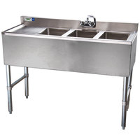 Regency 3 Bowl Underbar Sink with Drainboard and Faucet - 48 inch x 18 3/4 inch
