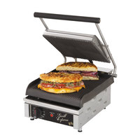 Star GX10IG 10 inchx 10 inch Grill Express Heavy Duty Grooved Top & Bottom Panini Grill