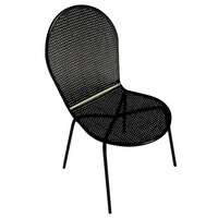 American Tables and Seating 93 Black Mesh Outdoor Chair with Arms and Rounded Seat and Seat Back