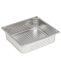 Vollrath 30143 Super Pan V 2/3 Size Anti-Jam Stainless Steel Perforated Steam Table / Hotel Pan - 4 inch Deep