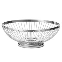 Tablecraft 6174 Oval Stainless Steel Regent Basket - 9 1/2 inch x 7 1/4 inch x 3 1/4 inch