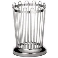 Tablecraft 258 Round Stainless Steel Regent Breadstick Basket - 3 1/4 inch x 5 1/4 inch