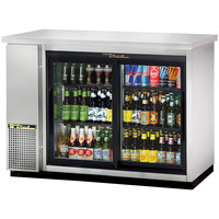 True TBB-24-48G-SD-S-LD 49 inch Stainless Steel Narrow Sliding Glass Door Back Bar Refrigerator with and LED Lighting