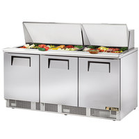 True TFP-72-30M 72 inch Mega Top Three Door Salad / Sandwich Prep Refrigerator