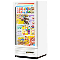 True GDM-10-LD White Glass Door Merchandiser Refrigerator with LED Lighting and White Trim - 10 Cu. Ft.