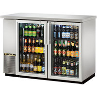 True TBB-24-48G-S-LD 49 inch Stainless Steel Narrow Glass Door Back Bar Refrigerator with LED Lighting