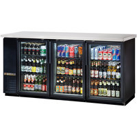 True TBB-24-72G-LD 73 inch Black Narrow Glass Door Back Bar Refrigerator with LED Lighting