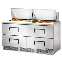 True TFP-64-24M-D-4 64 inch Mega Top Four Drawer Salad / Sandwich Prep Refrigerator