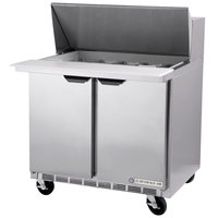 Beverage Air SPE36-15M-STL 36 inch Mega Top Refrigerated Salad / Sandwich Prep Table with Glass Lid
