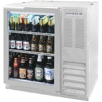 Beverage Air BB36G-1-S-LED 36 inch Glass Door Back Bar Refrigerator - Stainless Steel with LED Lighting