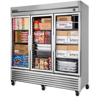 True T-72FG-LD 78 inch Glass Door Reach In Freezer with LED Lighting - 72 Cu. Ft.